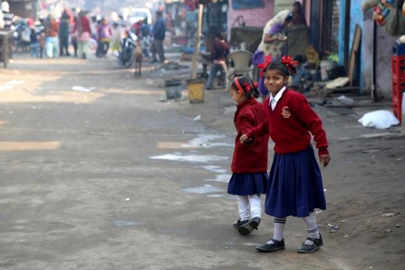 Poornima and Anita Walking to School 2