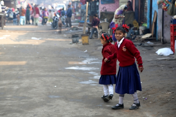 Poornima and Anita Walking to School 2